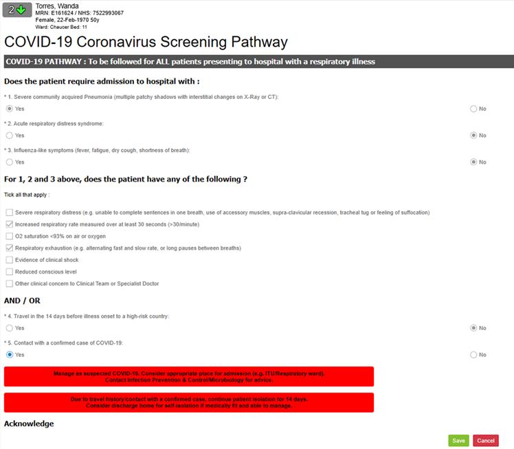 COVID 19 Screening Pathway